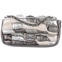 Chanel Silver Cream Gunmetal Leather Pillow Small Evening Shoulder Flap Bag