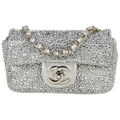 Chanel Silver Crystal Leather Small Mini Evening Shoulder Flap Bag