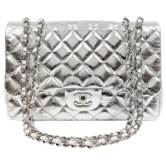 Chanel Silver Foil  Leather Jumbo Classic Flap Bag