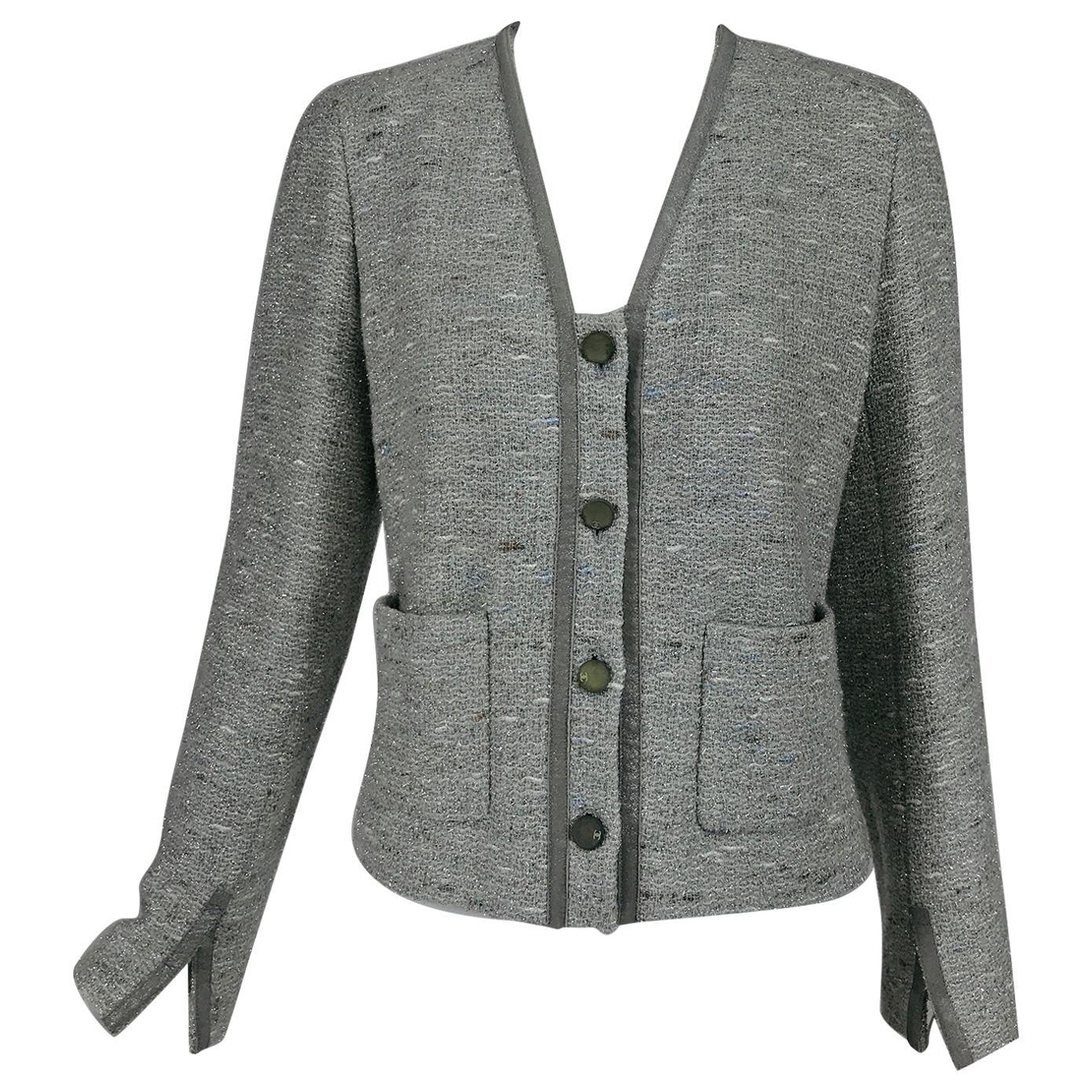 Chanel Silver Grey Metallic Slub Tweed Jacket 1999A 42