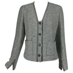 Chanel Silver Grey Metallic Slub Tweed Jacket 1999A 42