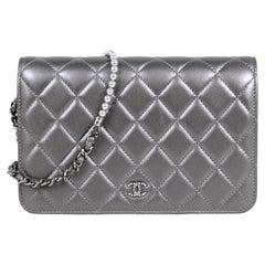 Chanel Silver Lambskin Pearl My Shoulder Wallet On Chain WOC Crossbody Bag