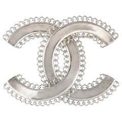 Chanel Silver Large CC Pin Brooch