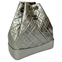 Chanel Silver Leather Backpack