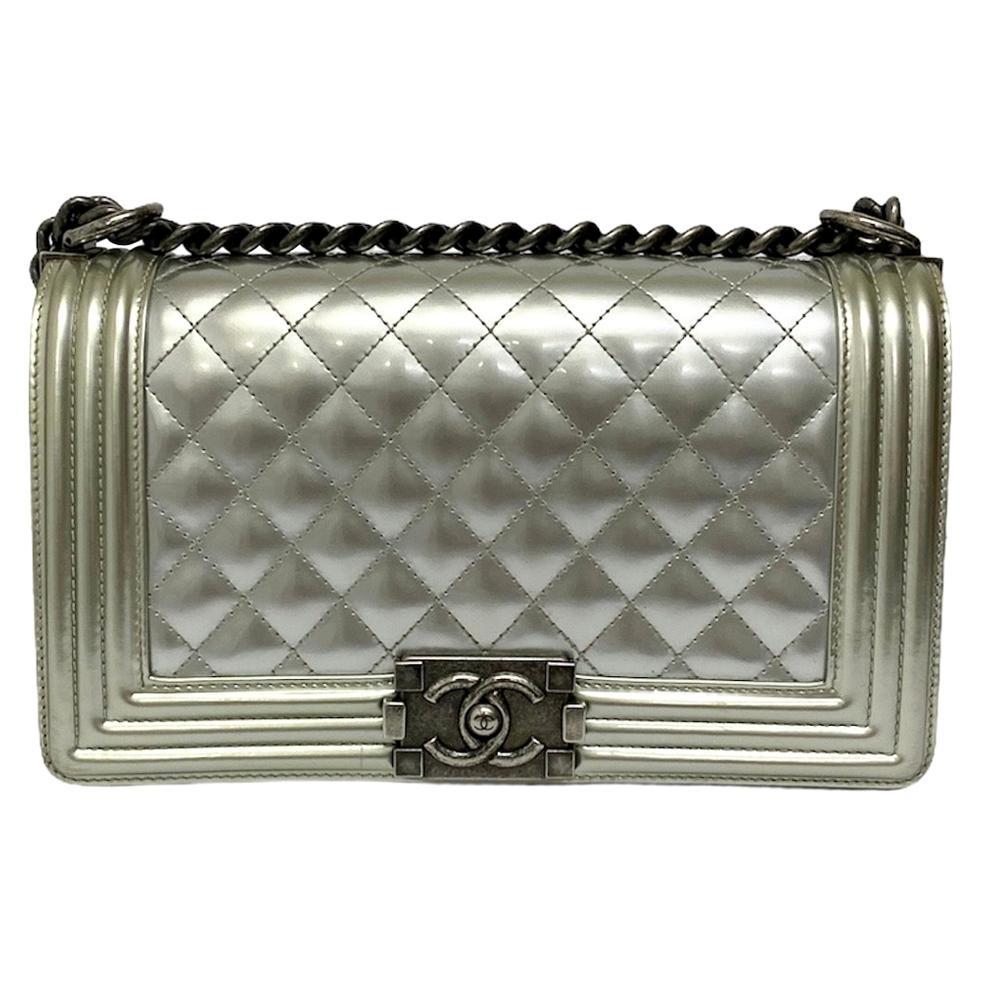 Chanel Silver Leather Boy Bag