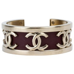 Chanel Silver & Leather Cuff Bracelet