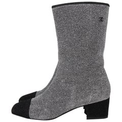 Chanel Silver Leather Glitter Black Toe Cap Riding Boots