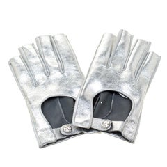 Chanel Silver Leather Gloves