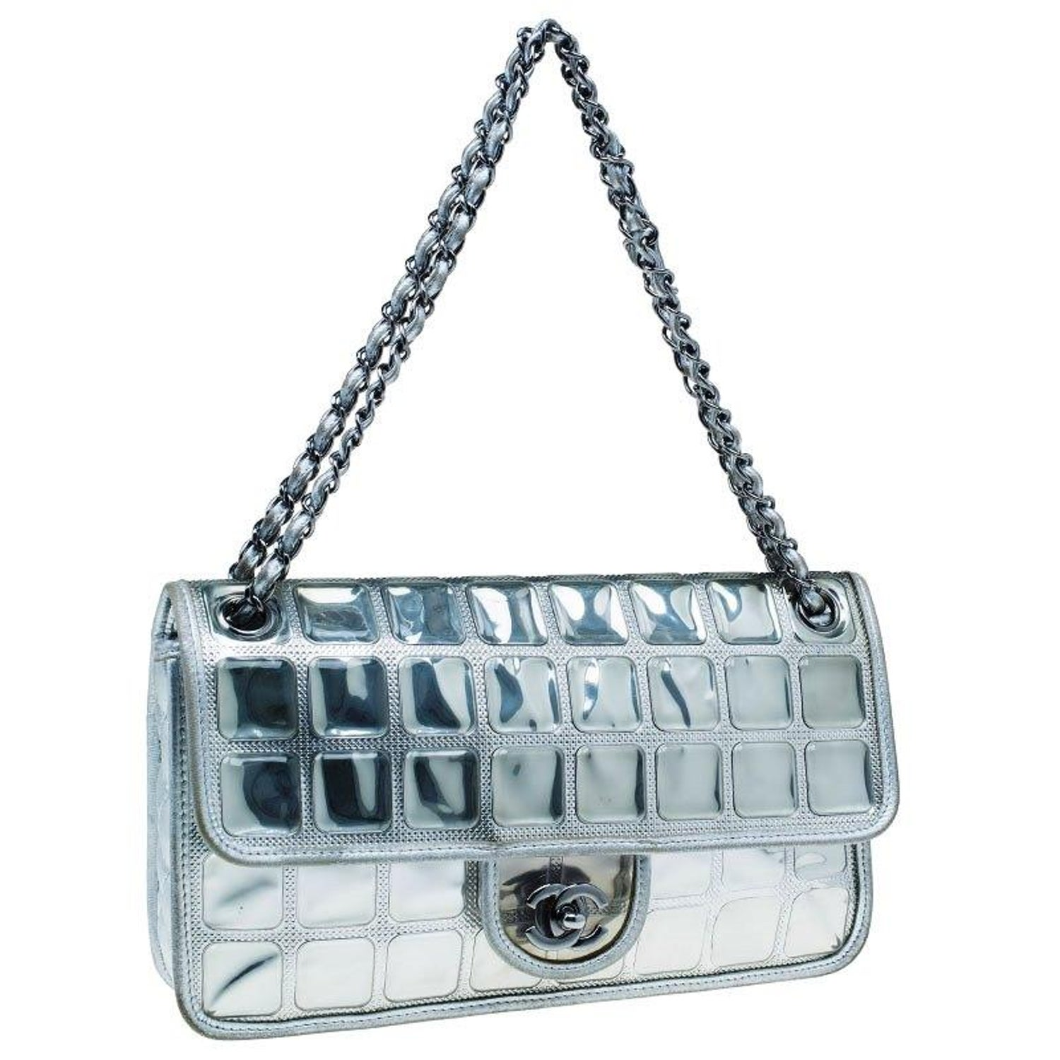 10c5ee591200 Chanel Silver Leather Ice Cube Limited Edition Flap Bag For Sale at 1stdibs