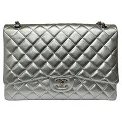 Chanel Silver Leather Maxi Jumbo Bag