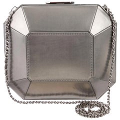 Chanel Silver Leather Medium Evening 2 in 1 Shoulder Flap Clutch Bag