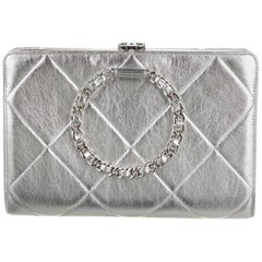 Chanel Silver Leather Quilted Chain Small Evening Clutch Flap Bag