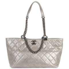 Chanel Silver Leather Quilted Shopping Tote
