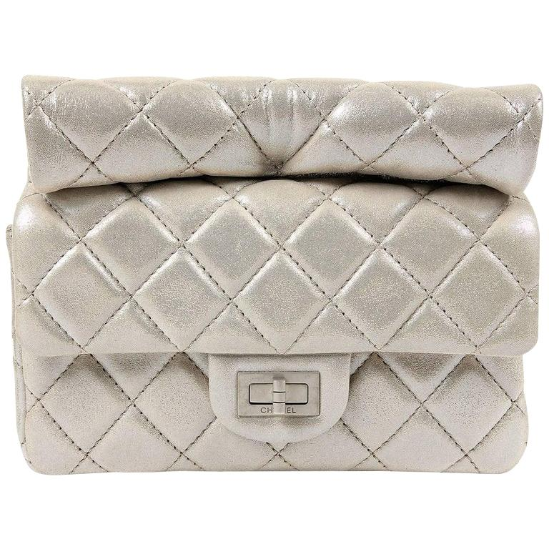 Chanel Silver Leather Roll Handle Reissue Clutch