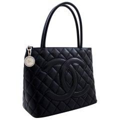CHANEL Silver Medallion Caviar Shoulder Shopping Tote Bag Black Leather