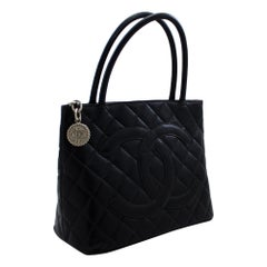 CHANEL Silver Medallion Caviar Shoulder Shopping Tote Bag Black Leather
