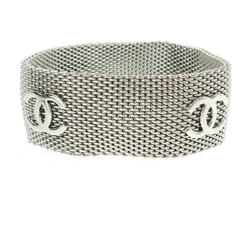 Chanel Silver Metal Mesh Charm Logo Evening Cuff Bracelet In Good Condition For Sale In Chicago, IL