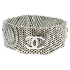 Chanel Silver Metal Mesh Charm Logo Evening Cuff Bracelet