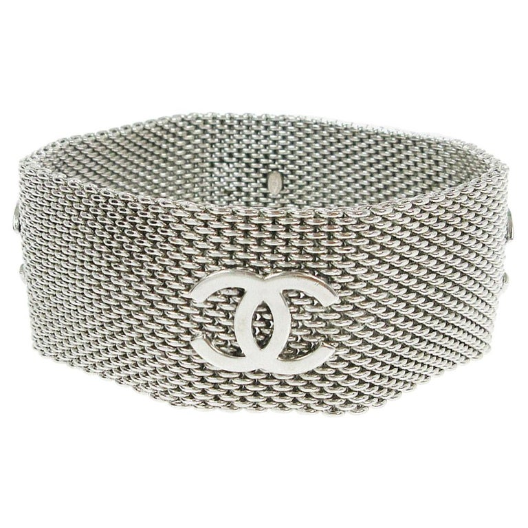 Chanel Silver Metal Mesh Charm Logo Evening Cuff Bracelet For Sale