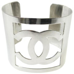 Chanel Silver Metal Wide Coin CC Charm Evening Cuff Bracelet