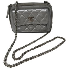Chanel Silver Metallic Camera Bag Crossbody