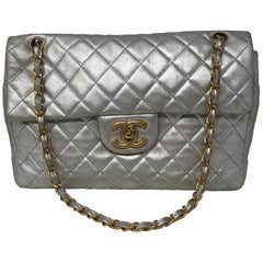 Chanel Silver Metallic Jumbo Bag