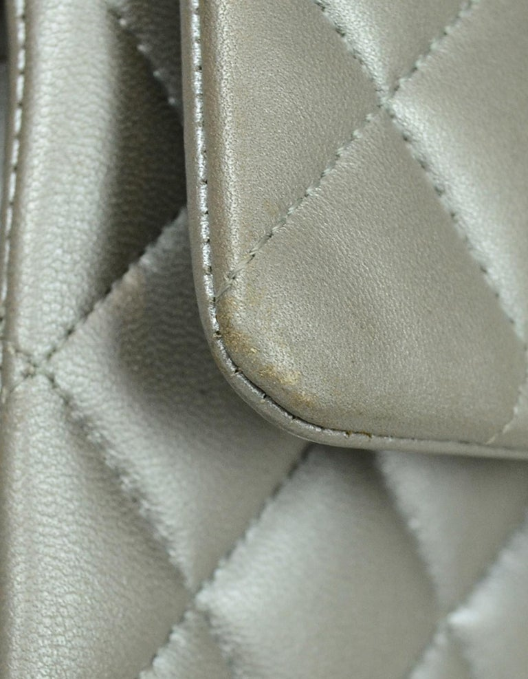 Chanel Silver Metallic Lambskin Quilted 10