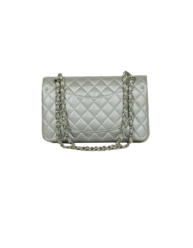 Women's Chanel Silver Metallic Lambskin Quilted 10