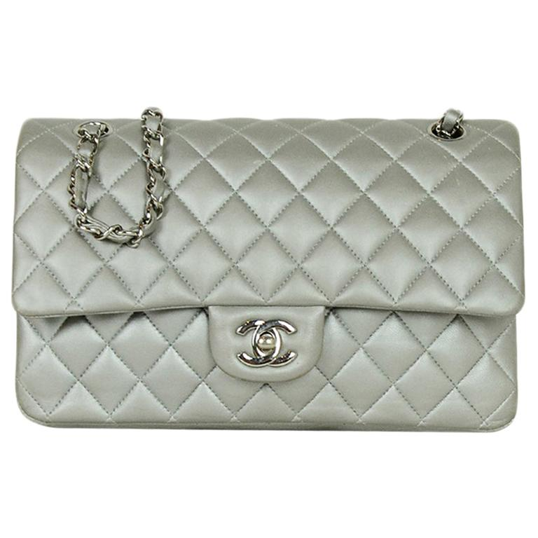 """Chanel Silver Metallic Lambskin Quilted 10"""" Medium Double Flap Classic Bag For Sale"""