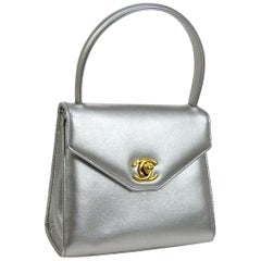 Chanel Silver Metallic Leather Gold Small Kelly Top Handle Satchel Bag in Box