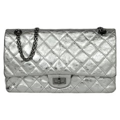 Chanel Silver Metallic Leather Quilted 2.55 Reissue 226 Double Flap Classic Bag