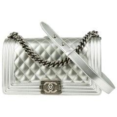 Chanel silver metallic medium size boy bag