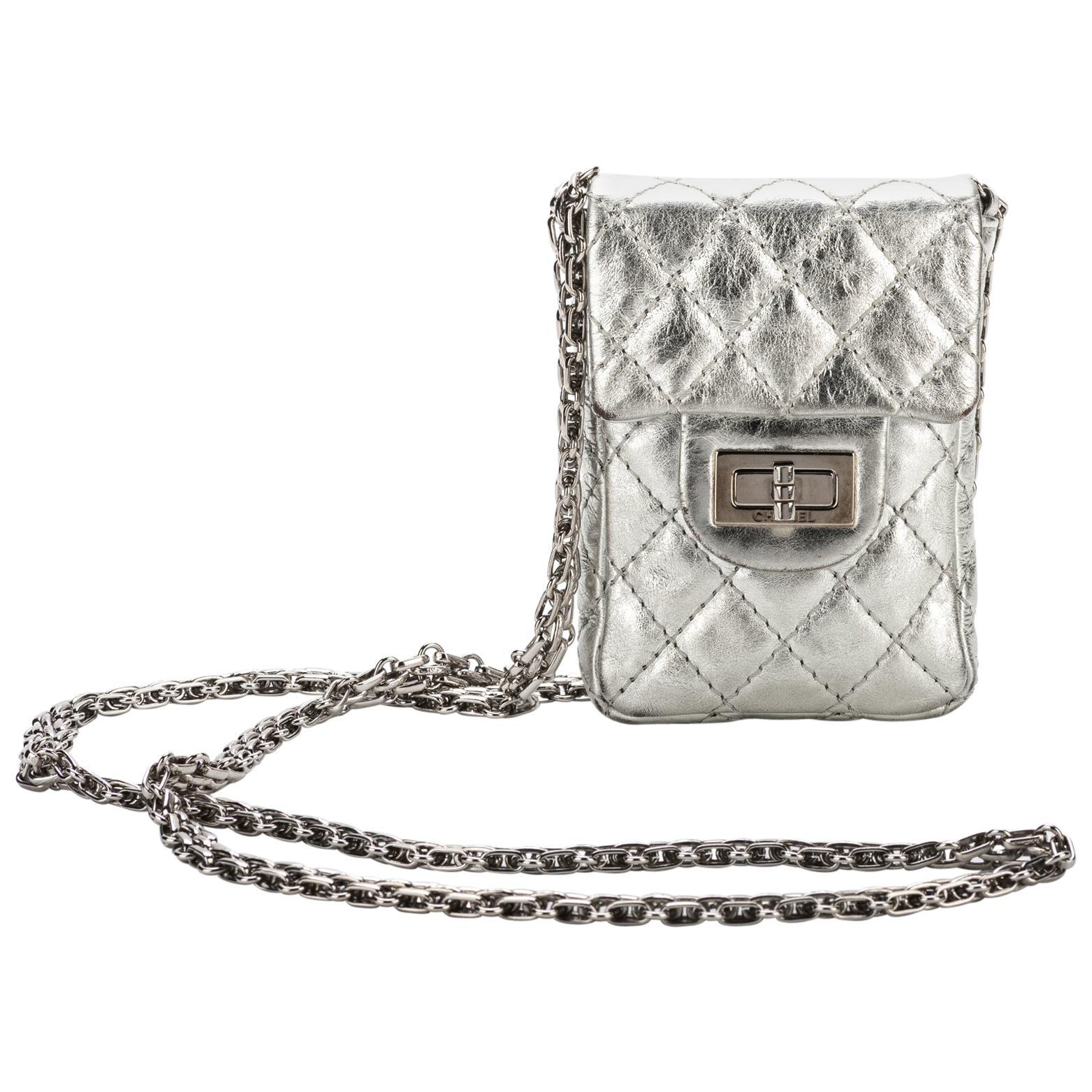 Chanel Silver Mini Reissue Crossbody Bag