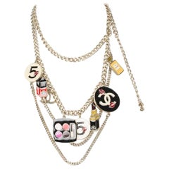 Chanel Silver/Multicolor Make Up Charm Belt and Necklace 2way 1cr0613