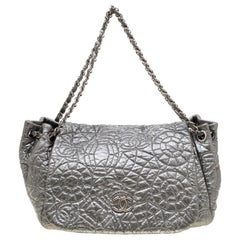 Chanel Silver Patent Vinyl Graphic Edge Flap Bag