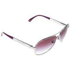 Chanel Silver/Purple Gradient 4179 Miroir Aviator Sunglasses