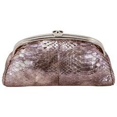 Chanel Silver Python Timeless Clutch