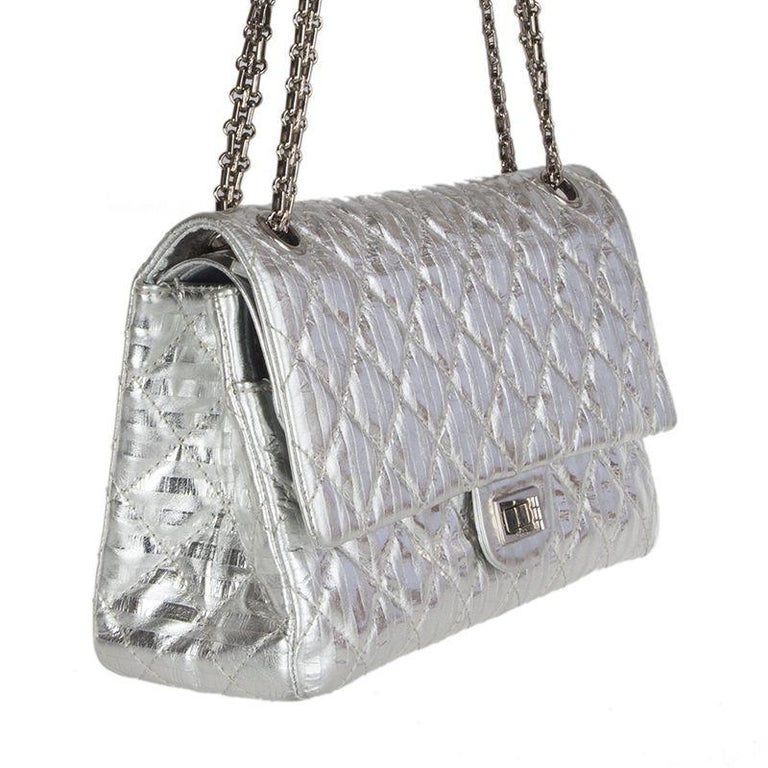33b2a50cd68f06 Chanel '2.55 Reissue' Limited Edition bag in quilted and striped silver  aged calfskin.