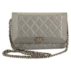 Chanel Silver Quilted Leather Boy Bag Crossbody