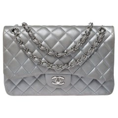 Chanel Silver Quilted Leather Jumbo Classic Double Flap Bag