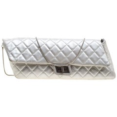 Chanel Silver Quilted Leather Reissue Chain Cluth
