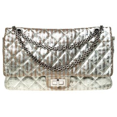 Chanel Silver Quilted Leather Striped Reissue 2.55 Classic 227 Flap Bag