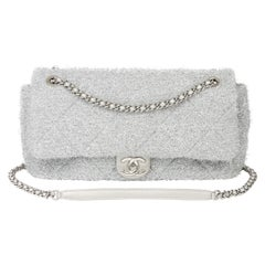 Chanel Silver Quilted Lurex Jumbo Pluto Glitter Flap Bag