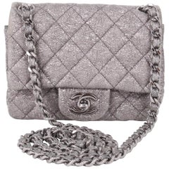 Chanel Silver Quilted Small Flap Crossbody Bag