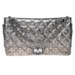 Chanel Silver Quilted Striped Leather Classic 2.55 Reissue 226 Double Flap Bag