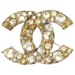 Chanel Silver & Rhinestone Logo Pin In Box