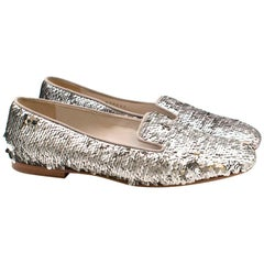Chanel Silver Sequin Loafers 37.5