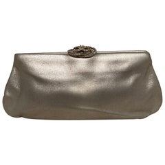 Chanel Silver Swarovski Crystal Camellia Evening Bag Clutch