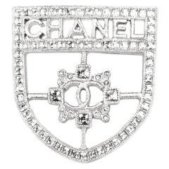 Chanel Silver Swarovski Crystal CC Shield Brooch Pin