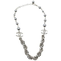 Chanel Silver Tone Faux Pearl & Crystal Twisted Chain Necklace